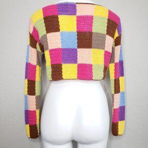 Moda International Sweaters - Moda Int'l   Square Patchwork Crochet  Sweater S